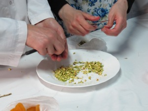 cutting pistachios by hand