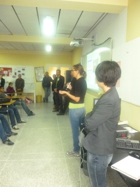Talking to students at the AST