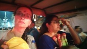 Me and Richa in a rickshaw or a cab....