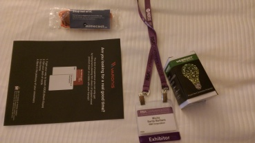 all my badges and goodies from vendors in my hotel (without me knowing, hmmm)