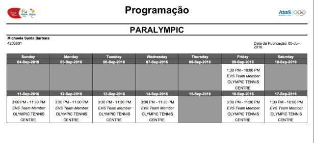 Rio schedule